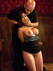 Busty waitress punished and fucked in bondage for stealing.