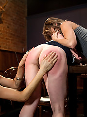 Two lesbian bitches abuse and fuck an innocent bartender when they are thrown in prison they get a taste of lesbian punishment and sex!
