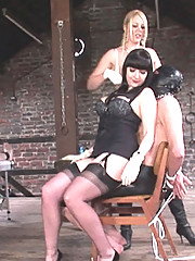 British dominas action in lingerie
