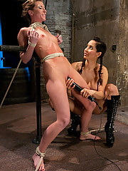 Ariel X gets abused by Matt Williams and Isis Love in a live BDSM event, only on Hogtied!