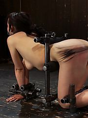 Adorable Lindy Lane metal-bound in doggy gets her first taste of the cane and comes hard.
