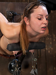 19-year-old hottie Sasha metal bound in old-fashioned strappado and machine fucked for the first time.