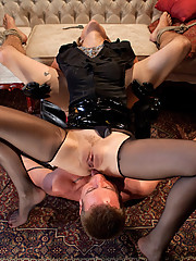 Maitresse Madeline slaps a cock sheath on a horny slave to fuck. When he blows his load  inside the cock sheath she makes it her goal to make him pay!