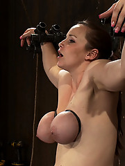 Luscious Bella Rossi spread, metal bound, and helpless to an onslaught of convulsive Sybian orgasms.