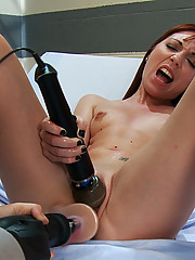 Amateur machine fucked faster than a speeding bullet until she SQUIRTS in a medical fucking scene - pussy and nipple suction used on her newbie body.