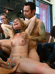 22 year old girl gets taken to a tattoo shop where she is humiliated, spit on, fucked in bondage, and tattooed by everyone who uses her!
