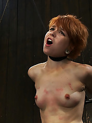 Hot, tough Juliette metal-bound in strappado on the Sybian with a bowling ball around her neck.