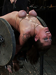 Princess Donna, bound, fucked by James Dean and his Huge Cock.  Isis Love smothers her pussy all over Donna