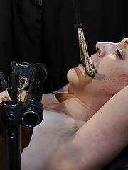 Dylan metal bound with Sybian and zipper to bowling ball predicament.
