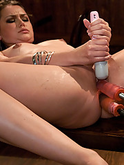 Brunette hard fucked by machines in her ass and pussy. Does a Double Pen and has two huge O