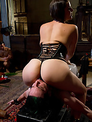 Maitresse Madeline, Goddess Isis Love and Mistress Bobbi Starr are worshiped and dish out sadistic femdom action to three worthless slaveboys in June