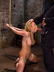 Madison Scot, tightly bound, and helpless, made to suck a big hard cock!