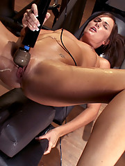 Rookie dirty blond girl machine fucked in her tight ass and in pile driver. She squirts from 350 RPMS in her pussy.