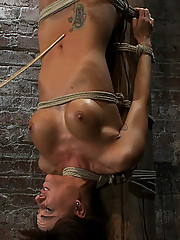 Sexy girl next door, get bound upside down to a beam, made to cum and suk cock!