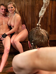 Cuckoldress gets fucked hard to orgasm by sexy bull while her pathetic cuck is made to watch in chastity then sprayed with bulls cum.