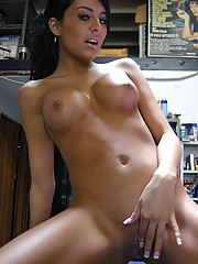 Tanned petite brunette has flashing fun