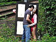Girl gets railway threesome with two old guys