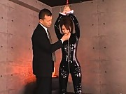 Kokomi Sakura tied up in her black pvc outfit and groped