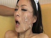 Mai Mizusawa gets a facial after being fucked in uniform
