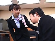 Yua Aida sexy asian girl in her business uniform with nylons