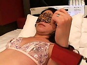 Mayumi strapped to the bed in only her bra and panties
