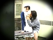 Amateur Asian in her nurse uniform and kissing her lover