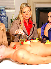 3 smoking hot big tits blonde milfs get fucked hard after licking and sucking on strawberries and cock in these hot masturbation fuck pics