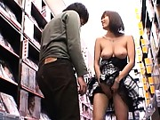 Yuma Asami has her pussy licked at an adult video store