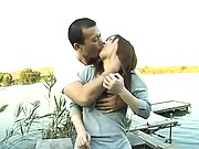 Japanese AV Model has her pussy licked down by a lakeside dock