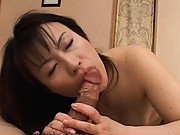 Misaki showing off her cock sucking skills before having sex