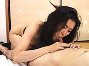 Saori nipples are sucked as she lies naked on a mat