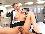 Yua Aida cute stewardess stripping out of her uniform