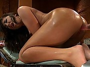Amateur French Brazilian girl machine fucks robots with long cocks. She cums from deep penetration in pile-driver, doggie and missionary.