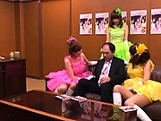 Japanese AV Model dressed in bright outfits ready to fuck him