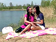 Two horny lesbian babes having a hot picknick