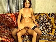 Slim granny enjoys a hard fuck