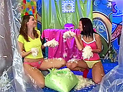 Two very horny lesbians eating soaked clit