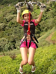 Tania Spice spends her day riding the zip line