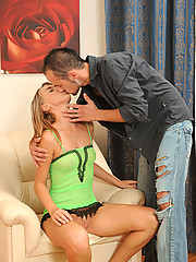 Fresh babe Tracy Zhora receives a hard pussy pounding and a cumshot from a hot stud