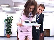 Aya Matsuki has her pantyhose ripped to show her curvy ass