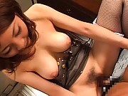 Anna Kousaka helps him with a condom before sliding his cock in