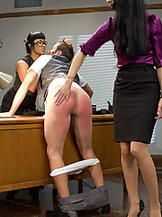 Two sext sadistic teachers punish, ass fuck and give a raw foot job to a perverted student who gets caught masturbating in the student bathroom!