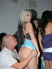 Super hot mini skirt gstring club babes get power fucked in the club louge in this amazing reality group sex pic set