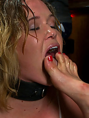 Sasha Knox is made to worship dirty socks and feet in a public bar, then ass fucked and made into a human cum dump