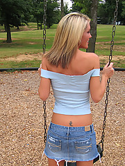Jacky getting naked in the public park