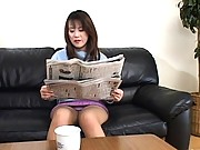 Hiromi horny mature Asian plays with her pussy through pantyhose