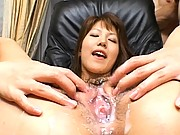 Arika Takarano has cum all over her pussy and pubic hair