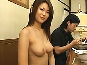 Japanese AV Model is naked and helping at a busy diner