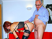 Taking his big senior british cock doggystyle