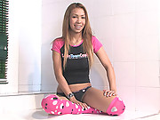 Tania Spice gets wet wearing her hot pink socks and masturbates with a vibrator